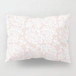 Elegant coral white modern floral lace pattern Pillow Sham