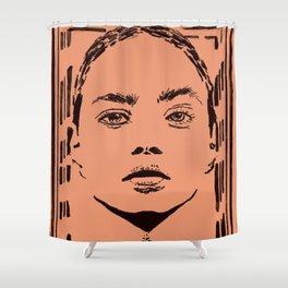 Powerful Woman #Feminism #minimalistart Shower Curtain