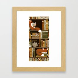 fox bookshelf Framed Art Print