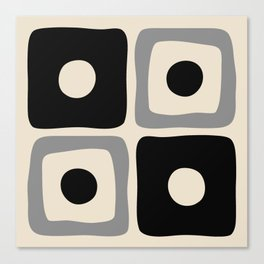 Mid Century Modern Square Dot Pattern 593 Black and Gray Canvas Print
