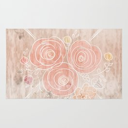Cute card with flower bouquet on wood background Rug