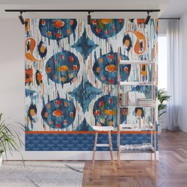 BLUE CIRCLES IKAT Wall Mural