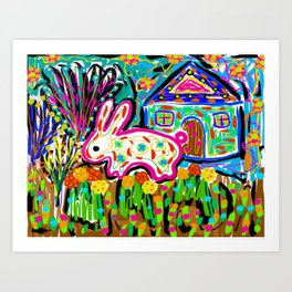 Rabbit and House Art Print