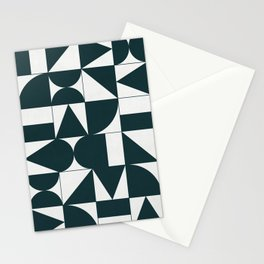 My Favorite Geometric Patterns No.17 - Green Tinted Navy Blue Stationery Cards