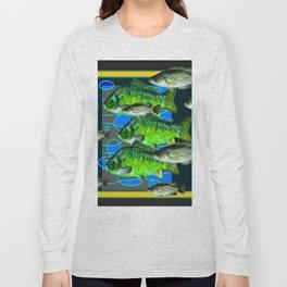GREEN FISH & BLACK-YELLOW AQUATIC DESIGN Long Sleeve T-shirt