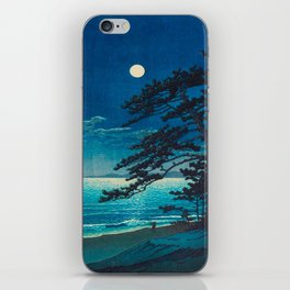 Vintage Japanese Woodblock Print Moonlight Over Ocean Japanese Landscape Tall Tree Silhouette iPhone Skin