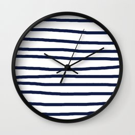 Simply Drawn Stripes in Nautical Navy Wall Clock