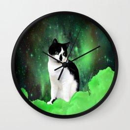Gypsy Da Fleuky Cat and the Kitty Emerald Night Wall Clock