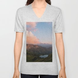 Mountain lake in Germany with Moon - landscape photography Unisex V-Neck