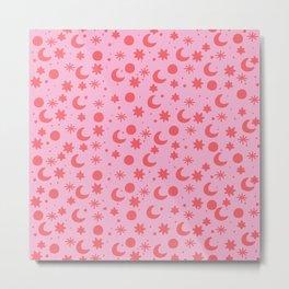 Cosmis space in pinky red Metal Print