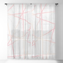 Modern white marble and pink rose gold geometric pattern Sheer Curtain