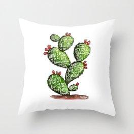 Psalm 63 watercoulor cactus bible verse Throw Pillow