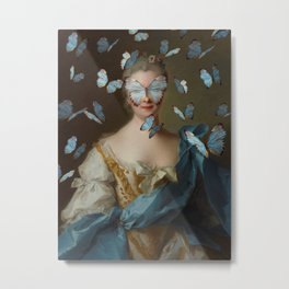 Lady with Blue Butterflies Metal Print