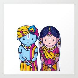 Cute Radha Krishna Art Print