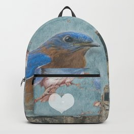 Blue Bird Mom and Her Babies Backpack
