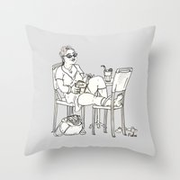 sci fi Throw Pillows featuring Sci Fi Afternoon by Madmi