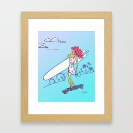 Cruising for Waves- Skateboarding Surfer Framed Art Print
