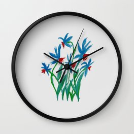 Hand painted watercolor floral blue and red flowers Wall Clock
