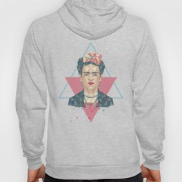 Pastel Frida - Geometric Portrait with Triangles Hoody