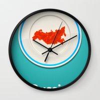 russia Wall Clocks featuring Food: Russia by Dmitriy Turovskiy (pushok12)