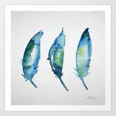 3 Bluebird Feathers Art Print