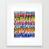 cupcakes Framed Art Prints featuring CUPCAKES by Claudia McBain