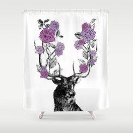The Stag and Roses | Deer and Flowers | Purple | Vintage Stag | Vintage Deer | Antlers | Woodland | Shower Curtain