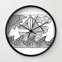 Doodle Boat Coloring Page and Color-in  Wall Clock