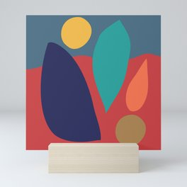 Contemporary Abstract Shapes in Saturated Earthy Hues Mini Art Print