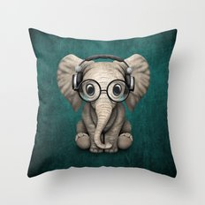 Cute Baby Elephant Dj Wearing Headphones and Glasses on Blue Throw Pillow