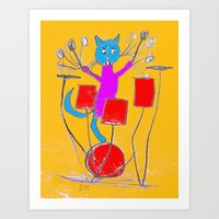 rock n roll Art Prints featuring Rock n Roll Kitty by Zoe's Creatures
