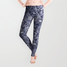 BITE ME roses and orchids INDIGO Leggings