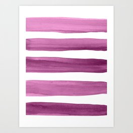 Watercolor Brushstrokes - Purple Art Print