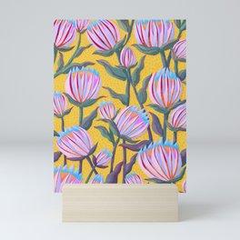 Bold Protea Flower Pattern - Pink Blue Green Purple Yellow Mini Art Print