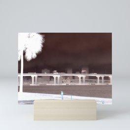 Fuller Warren bridge with palm tree and skyline on St. John's river - Jacksonville, Florida Mini Art Print