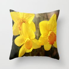 Yellow Trumpets - Daffodils Throw Pillow