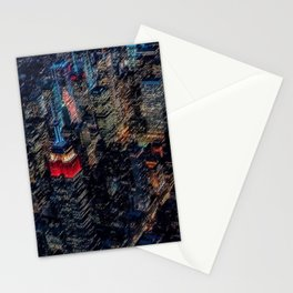 Empire State Lit Up Red at Night Landscape Painting by Jeanpaul Ferro Stationery Cards