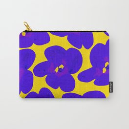 Blue Retro Flowers Yellow Background #society6 #decor #buyart Carry-All Pouch