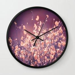 Delicate Flowers Purple Tones Background #decor #society6 #buyart Wall Clock