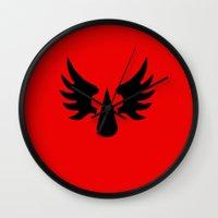 warhammer Wall Clocks featuring Warhammer 40k Blood Angels Minimalist Poster by Milos Cakovan