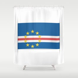 Flag of Cape Verde, officially the Republic of Cabo Verde. The slit in the paper with shadows. Shower Curtain