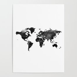 Black and silver world map Poster