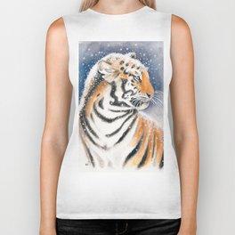 Tiger In The Snow Biker Tank