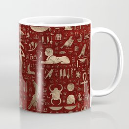 Ancient Egyptian hieroglyphs - Red Leather and gold Coffee Mug