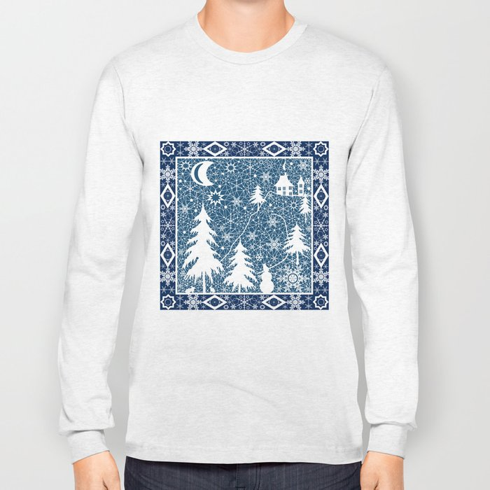 New year's design. Lace fabric . Long Sleeve T-shirt
