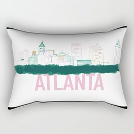 Atlanta Skyline Print Rectangular Pillow
