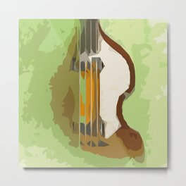 Guitar Bass green back Metal Print
