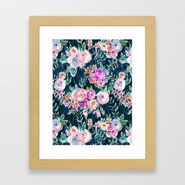 Midnight PROFUSION FLORAL Framed Art Print
