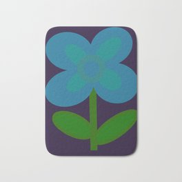Simple Blue Flower Bath Mat