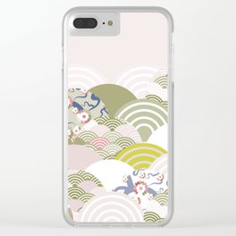 scales simple Nature background with japanese sakura flower, rosy pink Cherry, wave circle pattern Clear iPhone Case